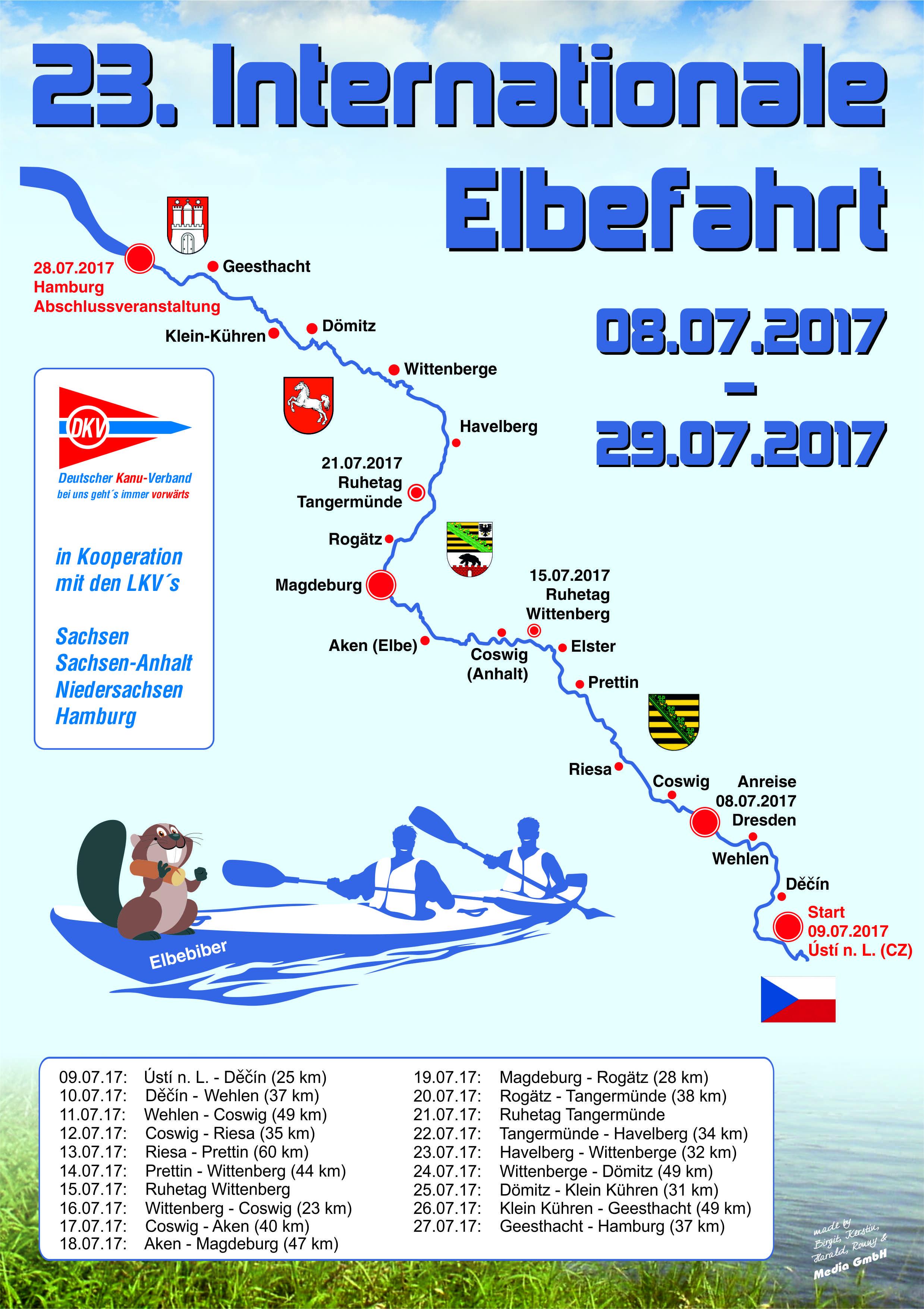 23. Internationale Elbefahrt   08.07. - 29.07.2017  2017_Elbefahrt_A4